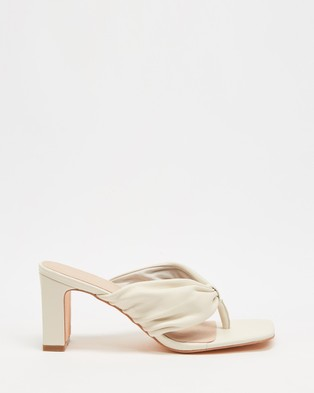 AERE Ruched Leather Thong Heels - Heels (Cream Leather)