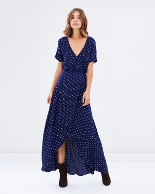 Auguste – Lily Wrap Maxi Dress Classic Polka Dot – Dresses (Navy Blue)