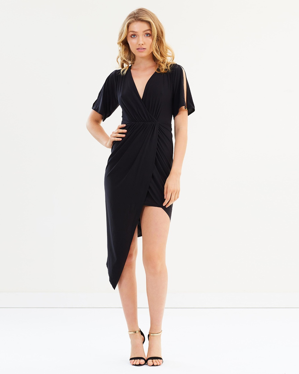 Miss Selfridge Split Sleeve Asymmetrical Midi Hem Dress Dresses Black Split Sleeve Asymmetrical Midi Hem Dress