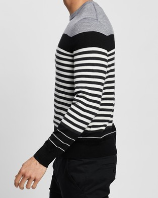 Calvin Klein Merino Stripe Crew Neck Sweater - Jumpers & Cardigans (Grey)