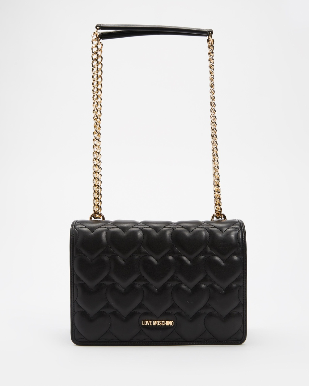 LOVE MOSCHINO Heart Quilted PU Shoulder Bag Handbags Nero Heart-Quilted