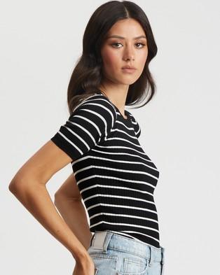 Savel Eliza Basic Knit - T-Shirts & Singlets (Black & White Stripe)