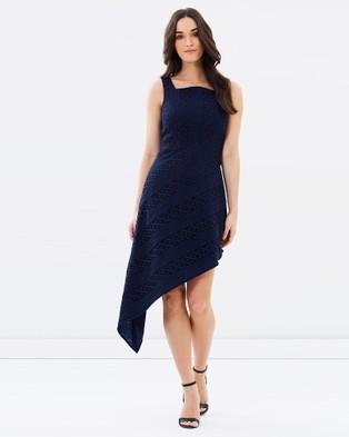Romance by Honey and Beau – Tara Asymmetric Lace Dress Navy