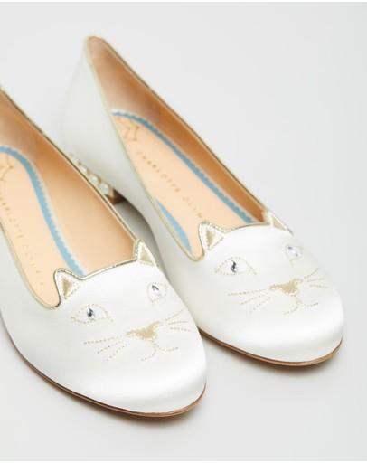 Charlotte Olympia Satin Kitty Flats - Bridal Milk