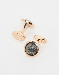 Kavalri - Rose Gold and Black Textured Cufflinks