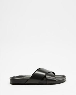 AERE - Brunswick Leather Slides - Shoes (Black) Brunswick Leather Slides