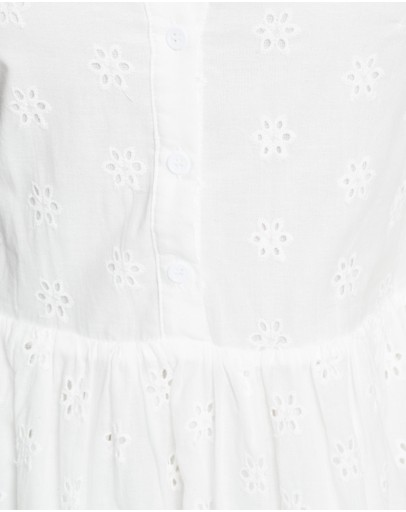 Missguided Broderie Smock Shirt Midi Dress White