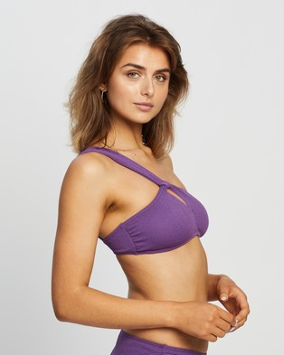 Peony One Shoulder Crop - Bikini Tops (Plum)
