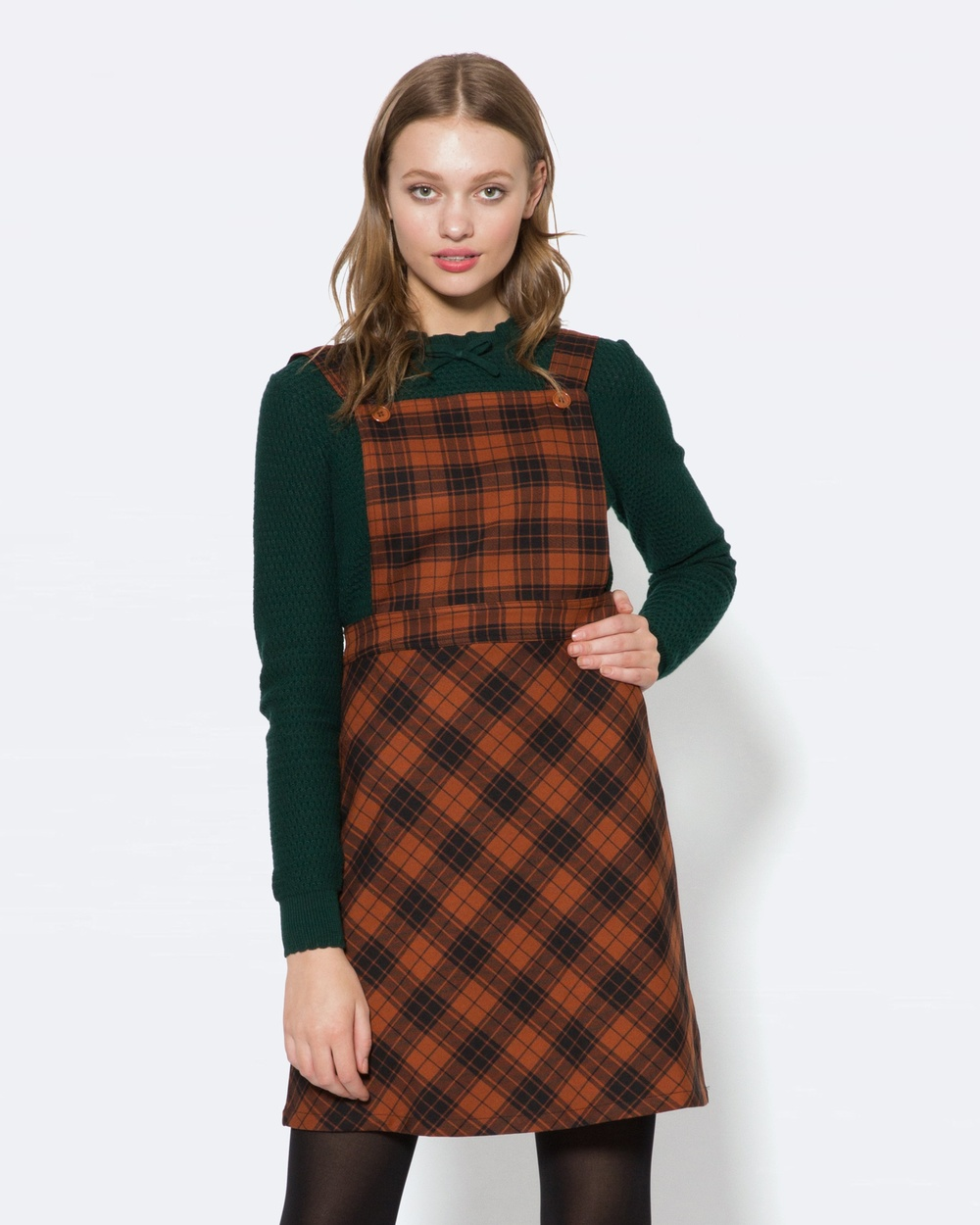 Princess Highway Tartan Pinny Dresses Orange Tartan Pinny