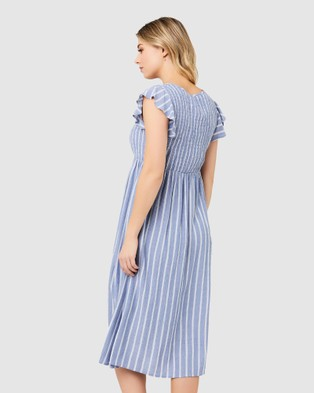 Ripe Maternity Sofia Shirred Dress - Dresses (Blue/White)