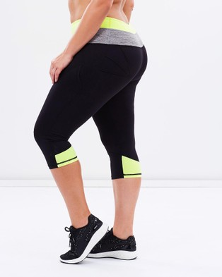 Curvy Chic Sports Two Tone Body Sculpt Tights - 3/4 Tights (Lime)
