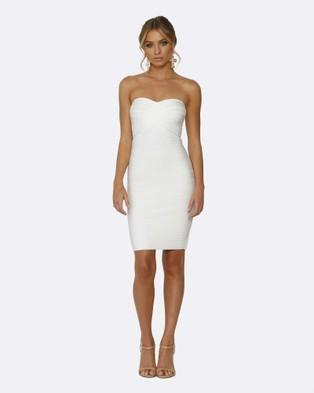 Honey Couture – Estelle White Strapless Mini Length Bandage Dress – Bodycon Dresses (White)