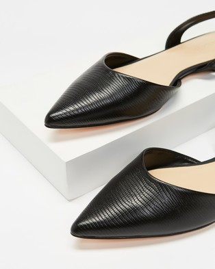 Atmos&Here Kiss Leather Slingback Flats - Flats (Black Lizard Embossed Leather)