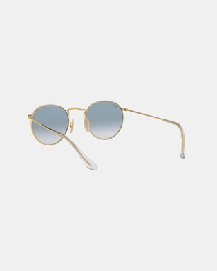 RaBan - Round Metal RB3447 - Sunglasses (Gold & Crystal White Gradient Blue)