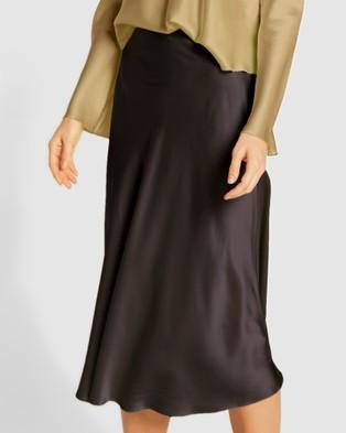 GINIA RTW Satin Cardi Skirt - Skirts (Black)