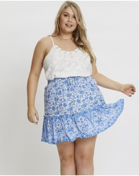 You & All - Plus Boho Border Print Skater Skirt