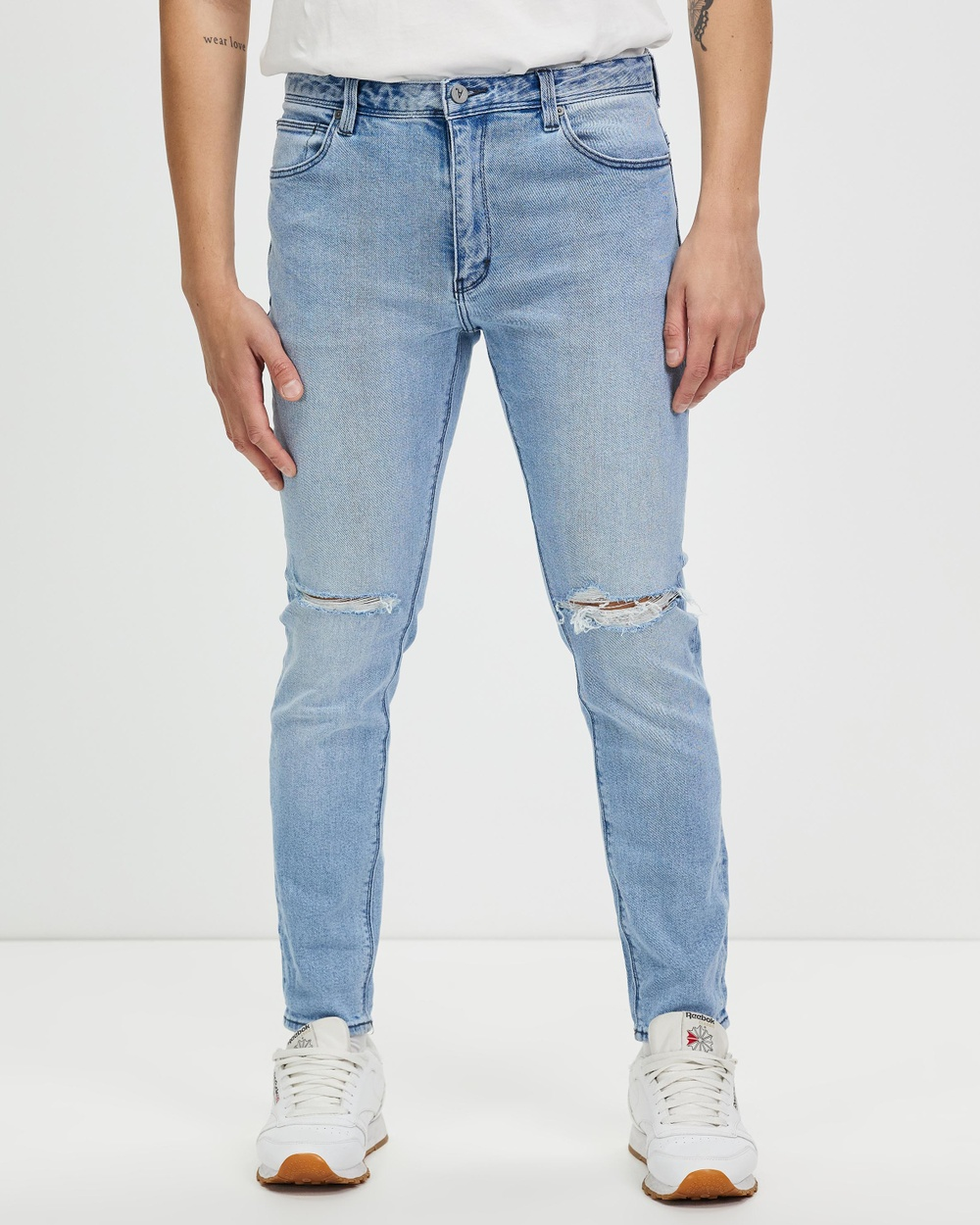Abrand A Dropped Slim Jeans Tripped Rip