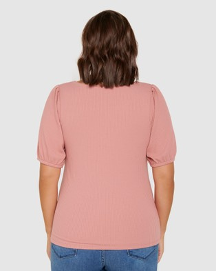 Forever New Curve Juliet Curve Sweetheart Neck Ribbed Top - Tops (Rosehip)