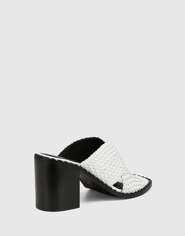 Women Razzie Woven Leather Block Heel Sandals