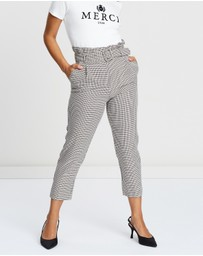 Miss Selfridge Petite - Check Paper-Bag Trousers
