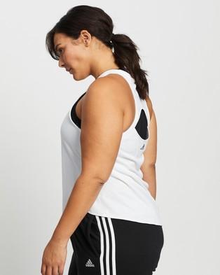 adidas Performance 3 Bar Logo Tank Top - Muscle Tops (White & Navy)