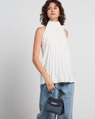 Guess Brinkley Mini Top Handle Flap Bag - Handbags (Denim)