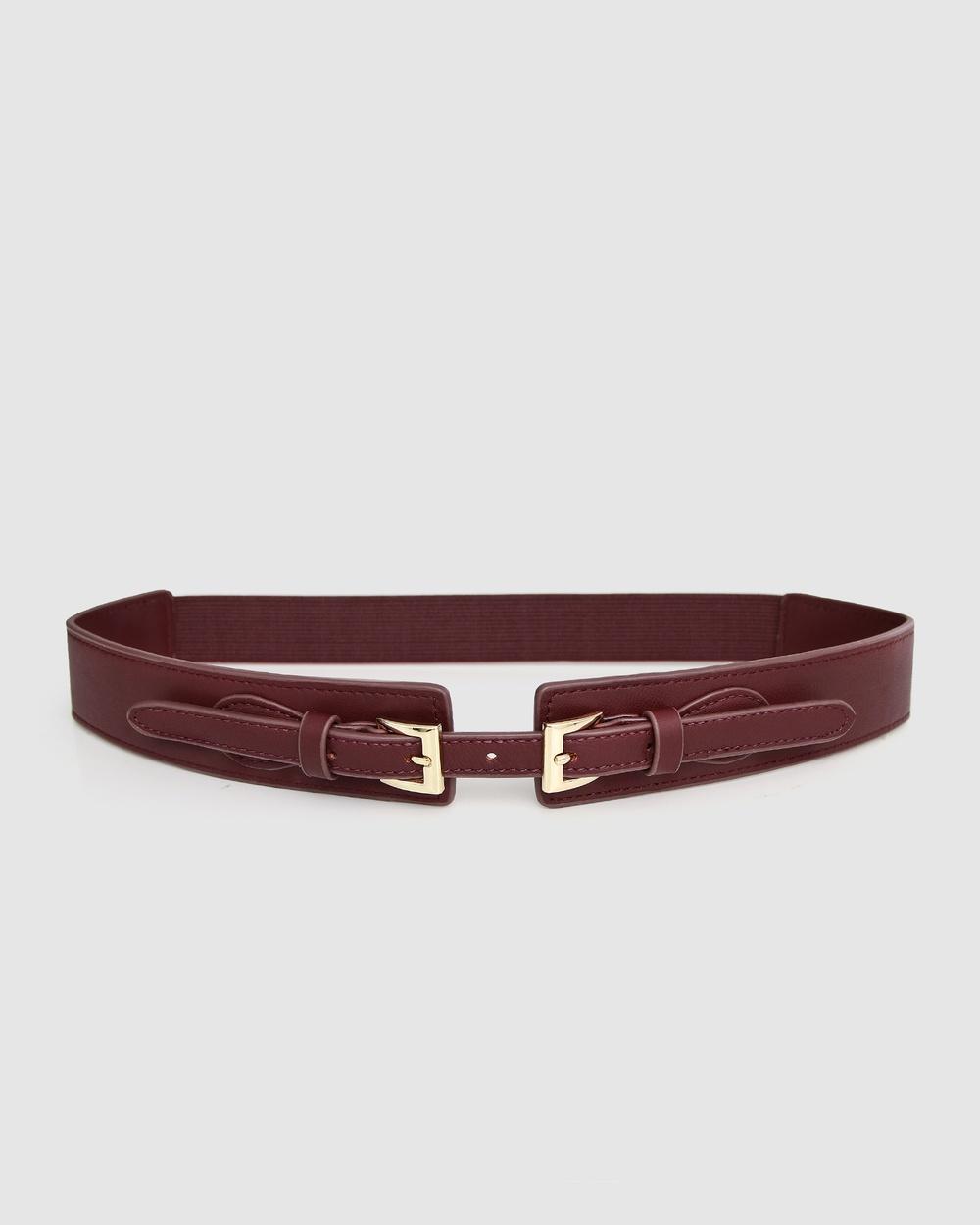 Belle & Bloom London Fog Leather Waist Belt Belts Wine
