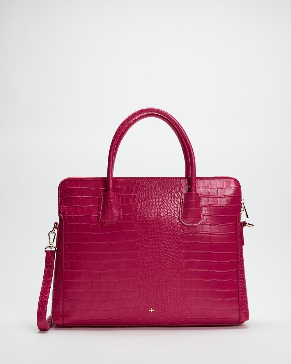 PETA AND JAIN Hustle Laptop Bag Handbags Fuchsia Croc