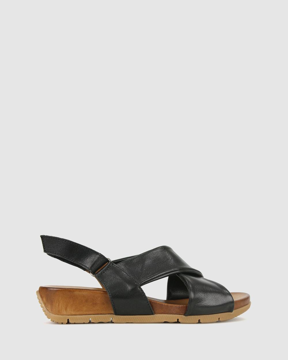 Airflex Zada Leather Wedge Sandals Black