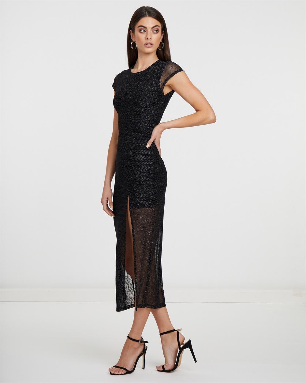 Atmos & Here Black Thigh High Split Dress