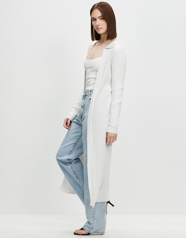 Women Sustain Me Variegated Rib Collar Longline Cardigan