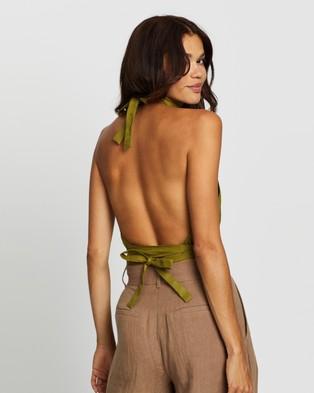 AERE Tie Linen Halter Top - Cropped tops (Olive Oil)