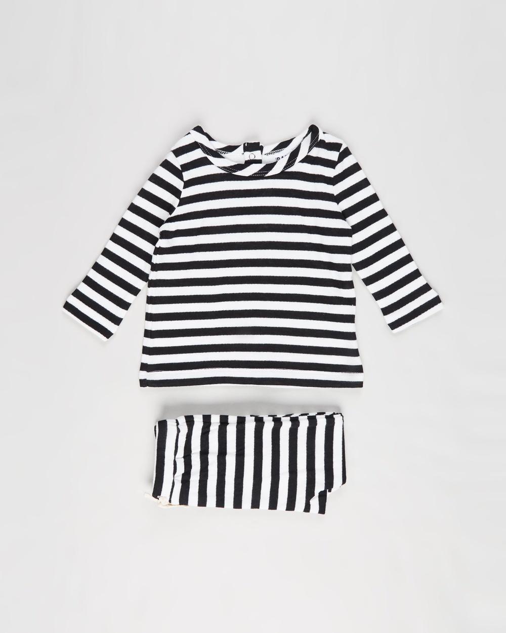 Cotton On Baby Lenny Johnny Set Babies Sweatpants Hannah Stripe Black & White Australia