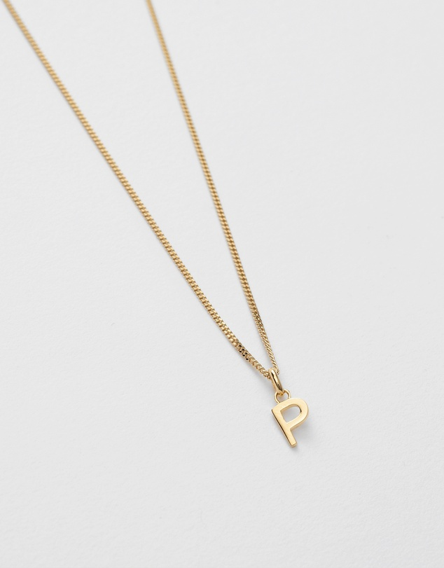Women P Outline Initial Necklace