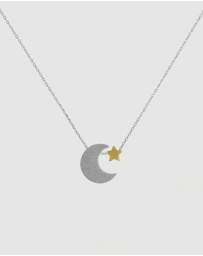 Short Story Moon And Star Necklace Silver
