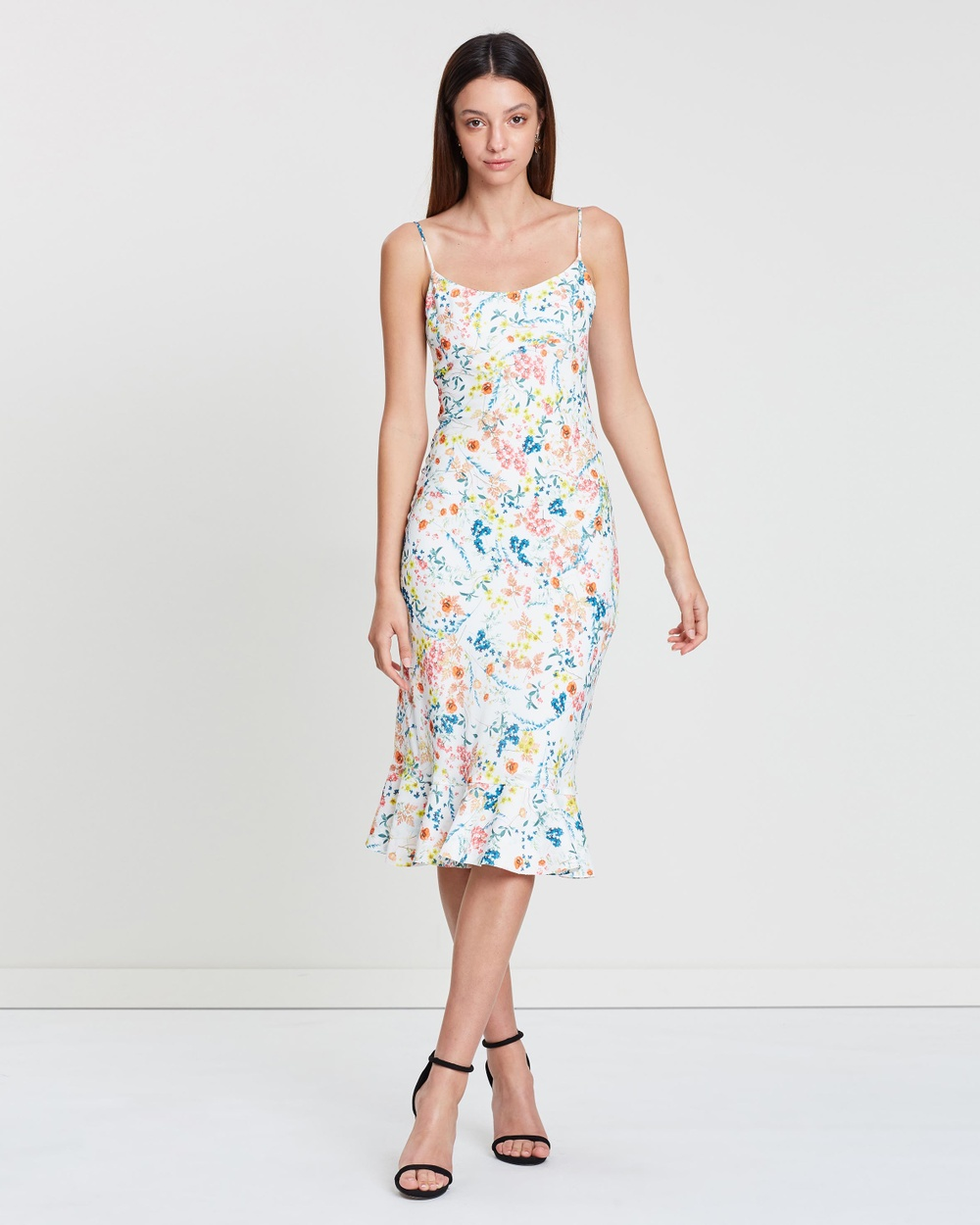 BY JOHNNY. White Floral Ditsy Frill Bias Midi Dress