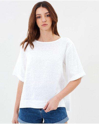 Assembly Label Boxy Linen Tee White