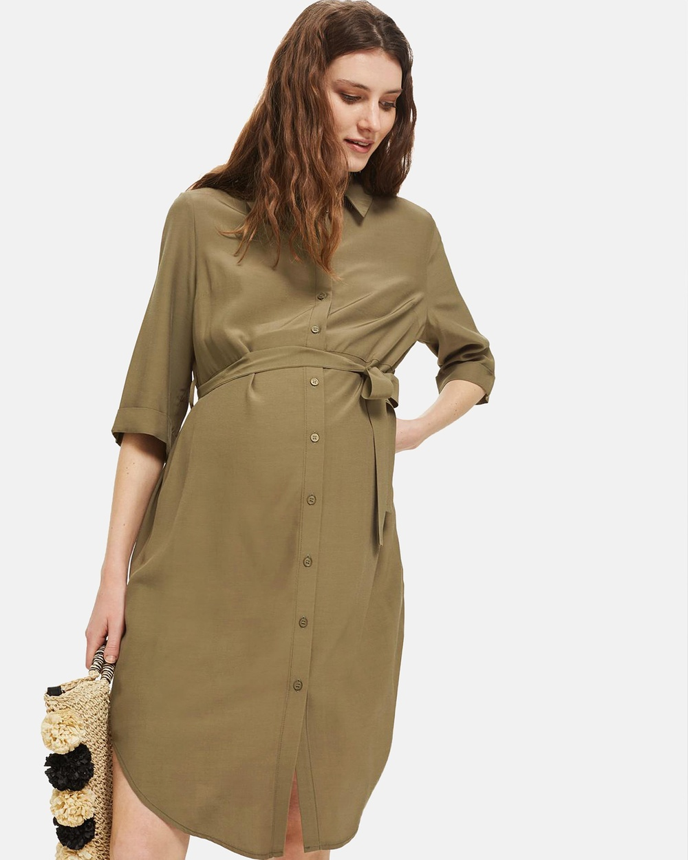 TOPSHOP Maternity Belted Utlity Shirt Dress Dresses Khaki Belted Utlity Shirt Dress