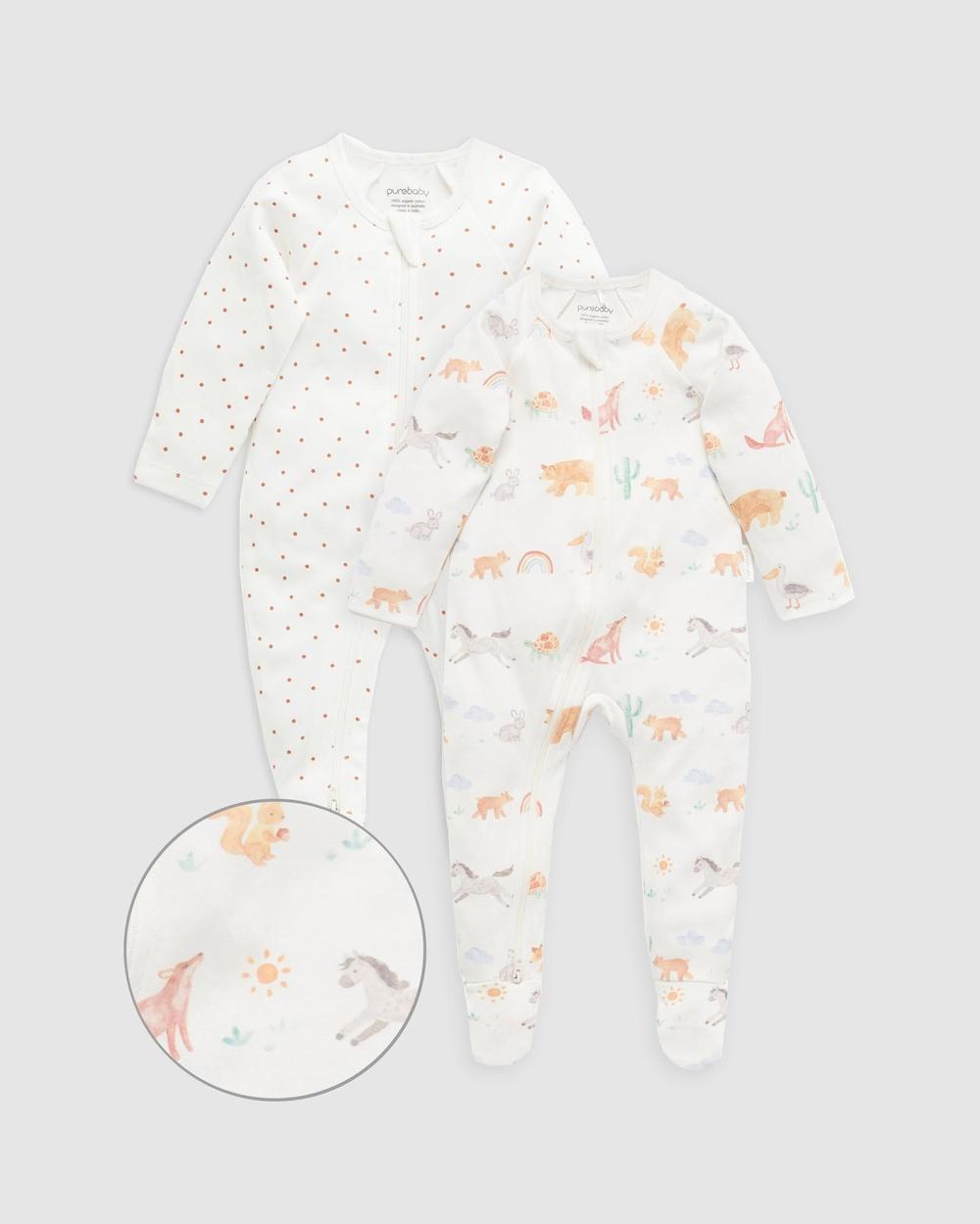 Purebaby Digital Zip Growsuit 2 Pack Babies Longsleeve Rompers California Coast Print 2-Pack
