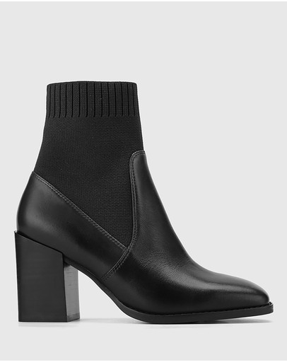 Wittner - Simmie Leather Block Heel Pull On Ankle Boots