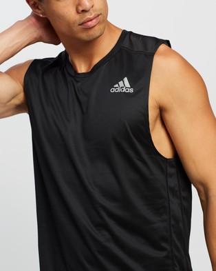 adidas Performance Own The Run Sleeveless Tee   Men's - Muscle Tops (Black)
