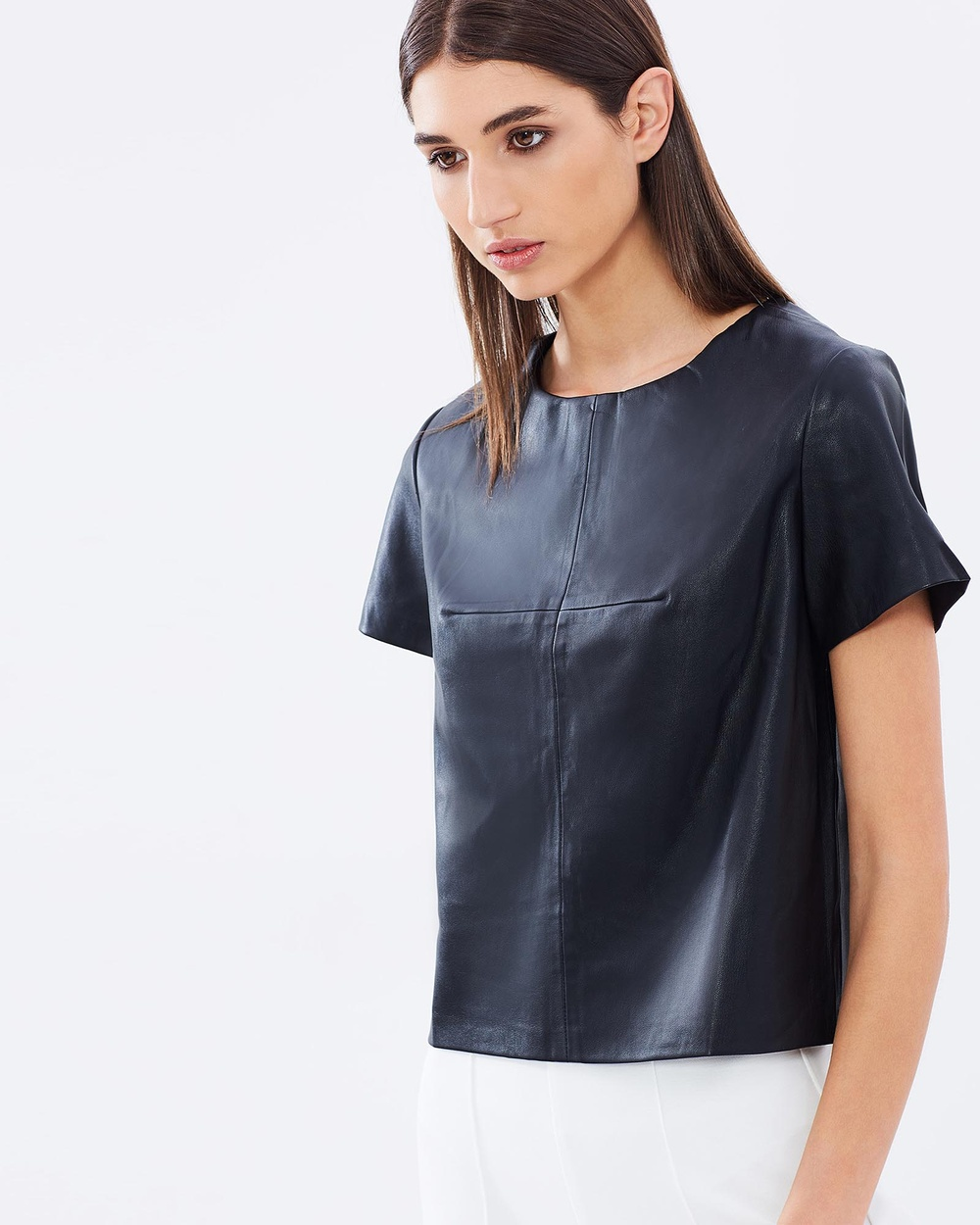 The Rushing Hour Eleanor Faux Leather Top Cropped tops Black Eleanor Faux Leather Top