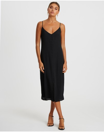 Damsel + Silk Adore You Button Midi Dress Black