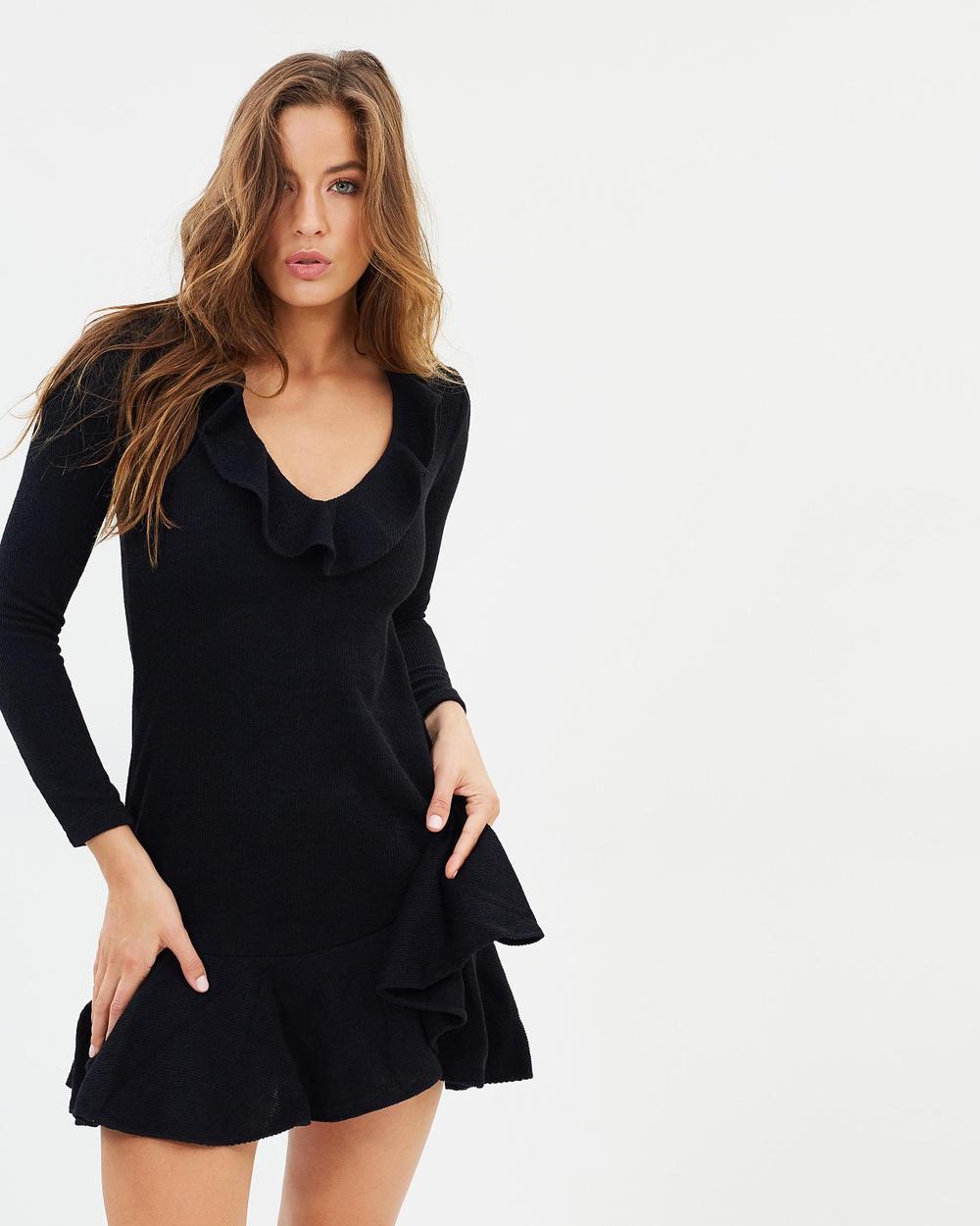 Shona Joy Demy Frill Collar Bodycon Dress Dresses Black Demy Frill Collar Bodycon Dress