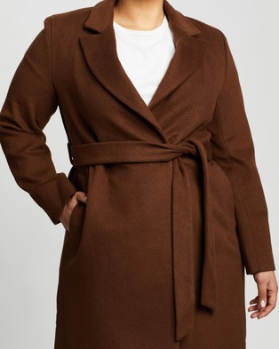 Atmos&Here Curvy Amelia Wool Blend Coat - Coats & Jackets (Chocolate)