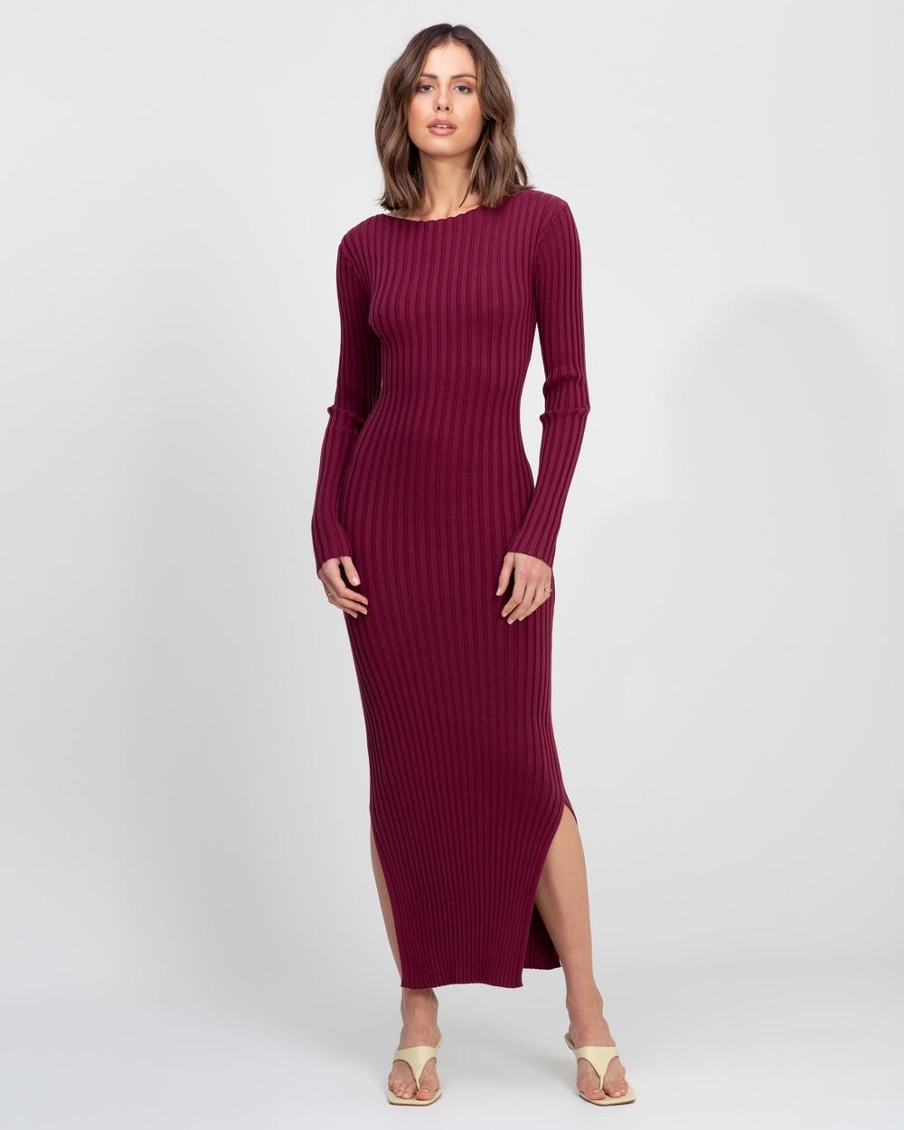AERE Organic Cotton Blend Knit Dress Bodycon Dresses Beetroot