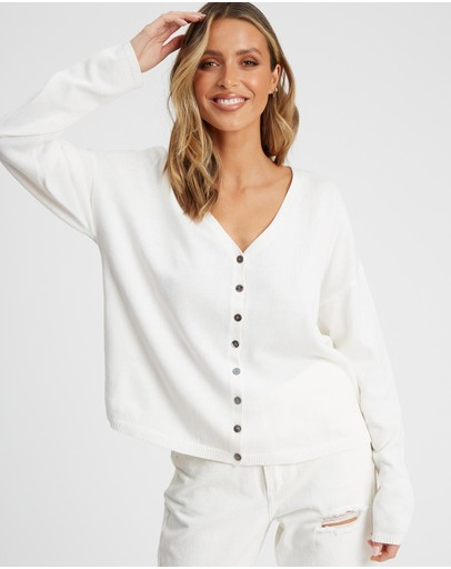 The Fated Rae Cardigan White