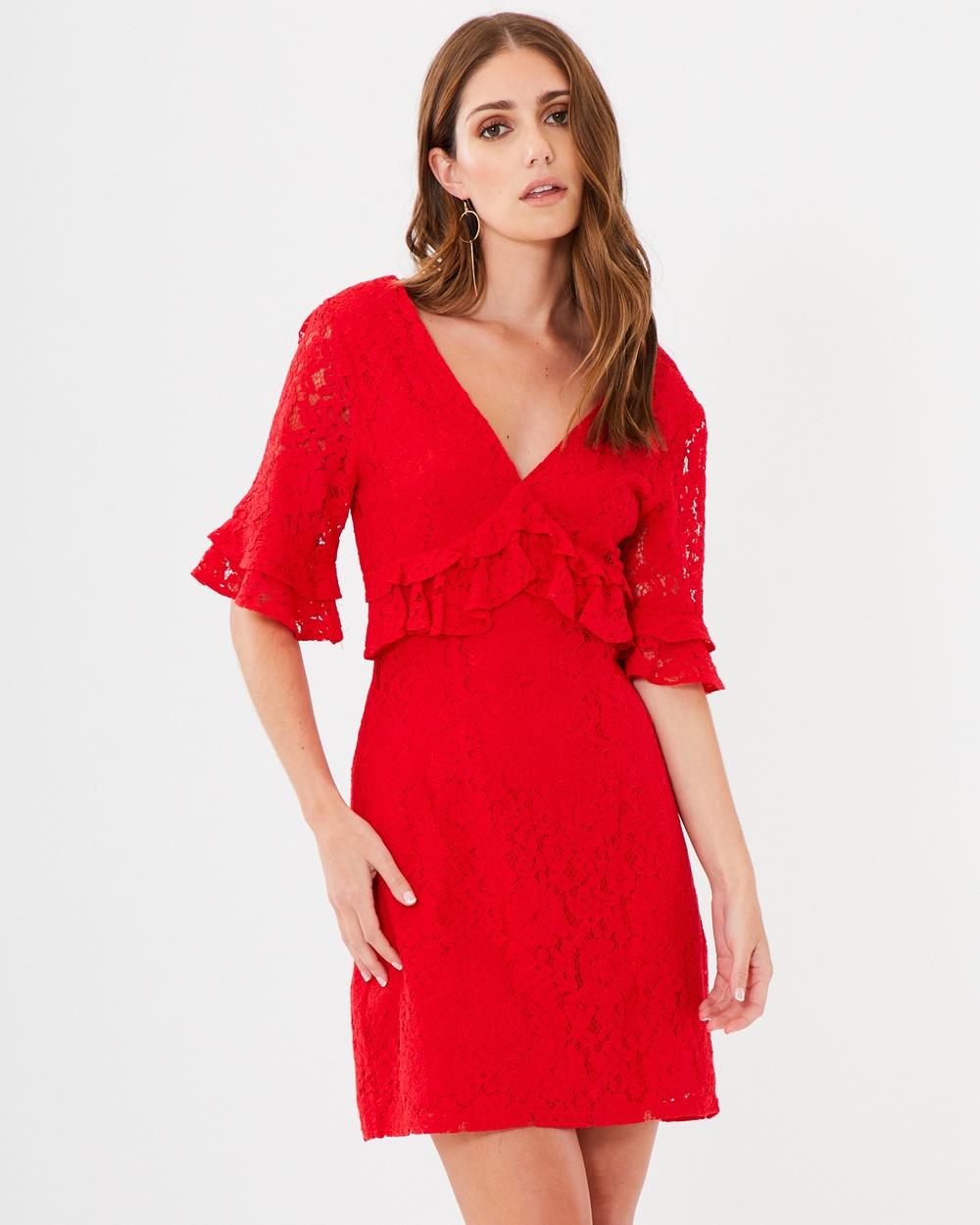 CHANCERY Rachel Frill Dress Dresses Red Lace Rachel Frill Dress