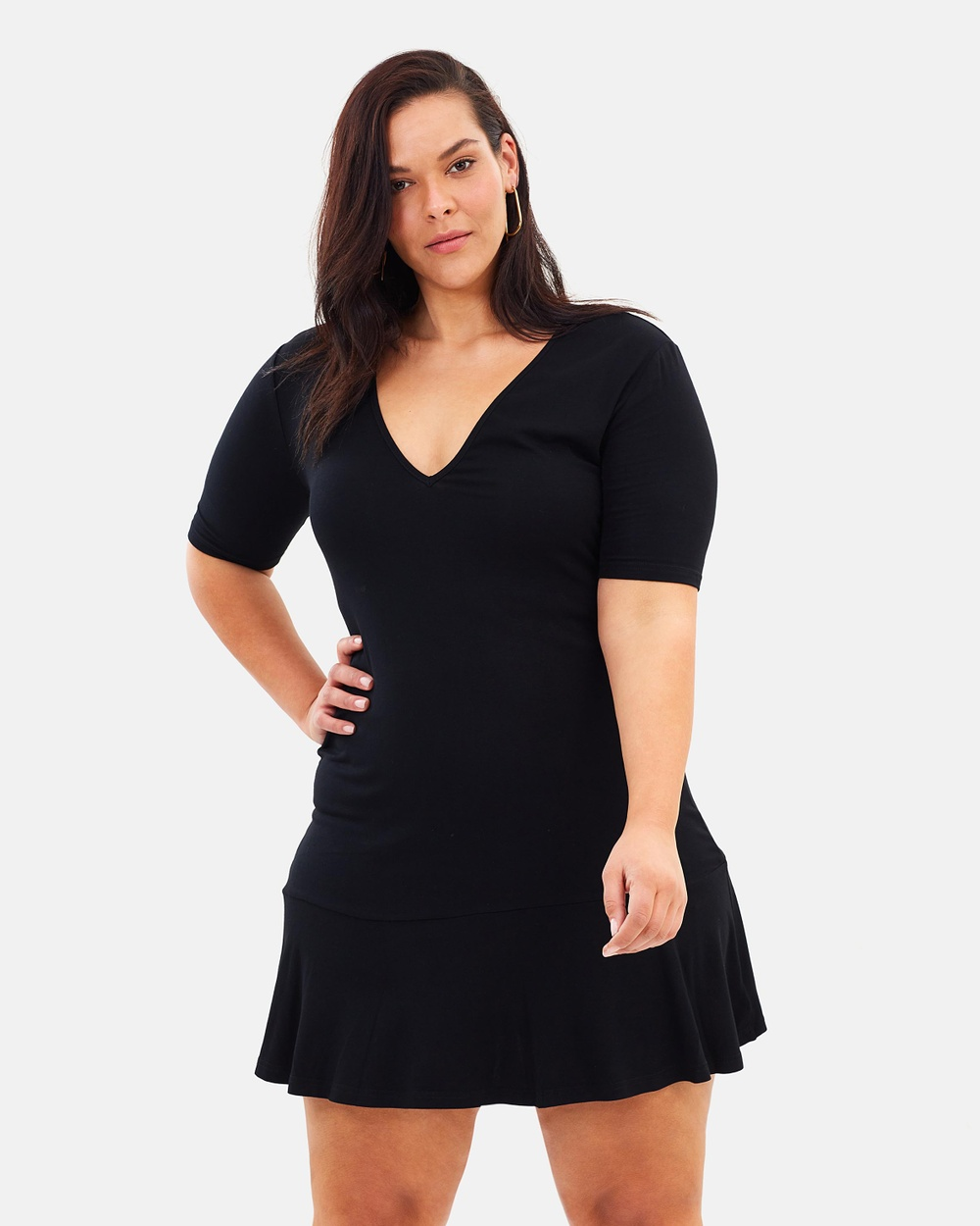 Atmos & Here Curvy ICONIC EXCLUSIVE Essential Drop Waist Dress Dresses Black ICONIC EXCLUSIVE Essential Drop Waist Dress