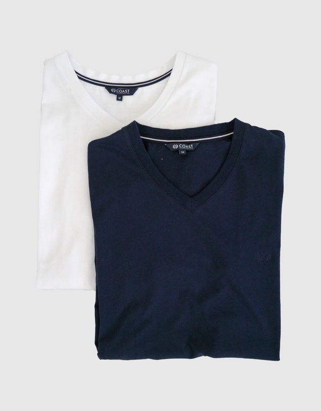 Coast Clothing - 2 Pack V Neck Essential Tees